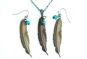 Brass Feather with Turquoise Earrings