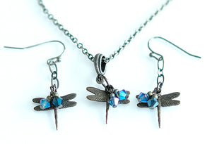 Water Dance Brass Dragonfly Necklace & Earrings set