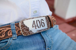 406 Montana Belt Buckle Steel Overlay