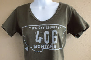 406 Women's Army Green Montana T-Shirt
