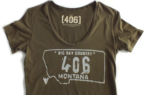406 Women's Army Green Montana T Shirt