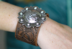 Tooled Cuff Bracelet with Round Concho (Small or Large)