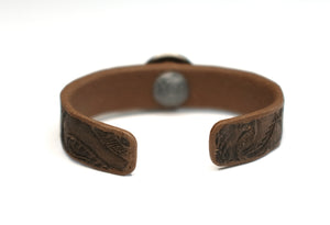 Tooled Cuff Bracelet with Silver Nickel Concho