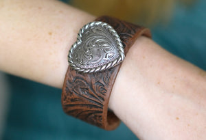 Tooled Cuff Bracelet with Heart Concho