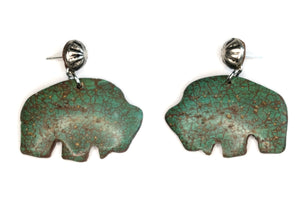 Turquoise Buffalo Faux Stone Earrings