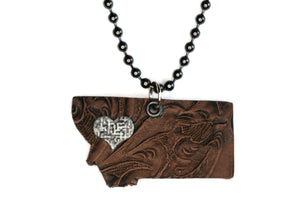 Tooled Montana State Pendant Necklace