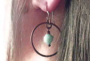 Amazonite & Copper Hoop Earrings - Montana Jewelry
