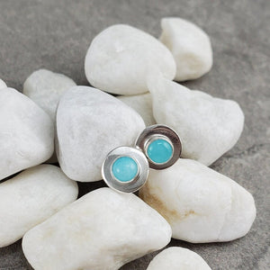Amazonite Stud Earrings, Minimal Stud Earrings
