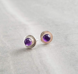 Amethyst Stud Earrings, Minimal earrings, Montana jewelry
