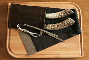 Carving Set w/ Antler & Leather Sleeve  SOLD OUT