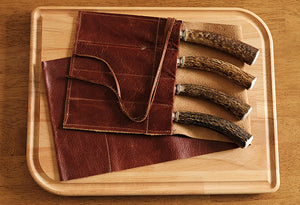 Montana Knife Set Antler w/Leather Sleeve