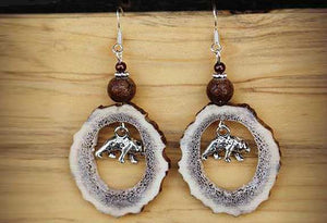 Montana Elk Antler Earrings w/ Silver Bear Charm