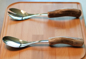 Deer Antler Stainless Salad Serving Set