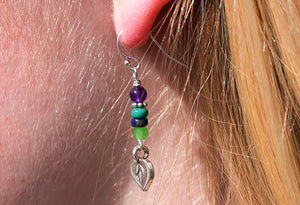 Gemstone Bead Stack Earrings w/ Silver Charm (SOLD OUT*)