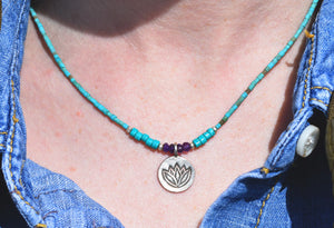 Silver Lotus Turquoise Necklace (SOLD OUT)