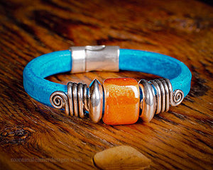 Turquoise Leather Bracelet, Ceramic Bead