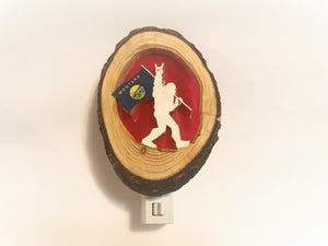Bigfoot with Montana Flag Night Light, Carved Wood