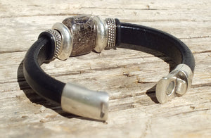 Glacier Black Leather Bracelet