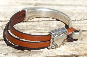 Sterling Heart Leather Bracelet