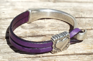 Sterling Heart Leather Bracelet, Purple