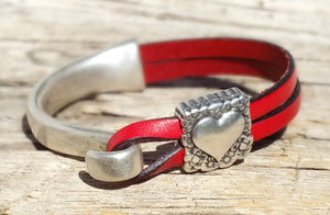 Sterling Heart Leather Bracelet, Red