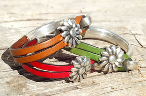 Sunflower Leather Bracelets, red green orange