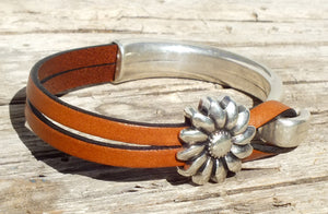 Sunflower Leather Bracelet - Distinctly Montana - 12