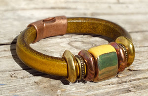 Western Leather Bracelet, Gold Bead