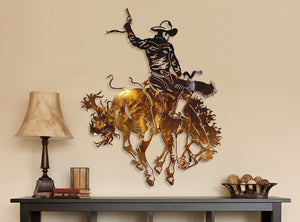 Bucking Cowboy Bronzed Steel Wall Decor