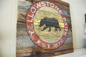 Yellowstone Rustic Barnwood Sign
