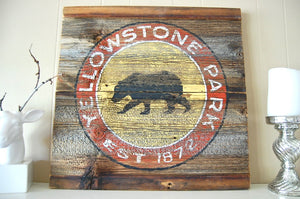 Yellowstone Grizzly Vintage Sign