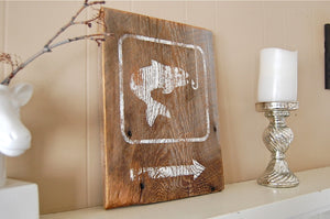 Fishing Hole Barnwood Salvage Sign