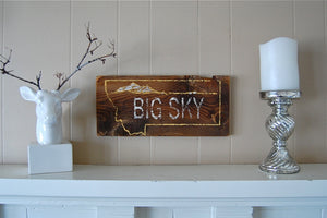 Big Sky Rustic Barnwood Montana Sign - Distinctly Montana - 3