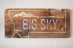 Big Sky Rustic Barnwood Montana Sign