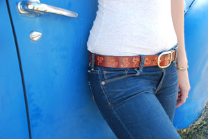 Cowgirl Leather Belt, Bordeaux