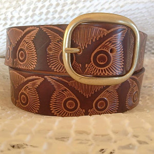 Brown Owl Vintage Stamp Leather Belt