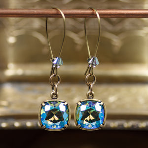Deep Spring Cushion Crystal Earrings