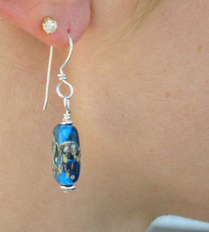 Deep Water Glass Bead Earrings