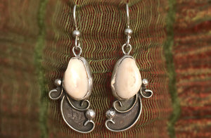Elk Tooth Ivory Earrings, Spring