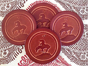 Western Leather Coaster Sets - Distinctly Montana - 8