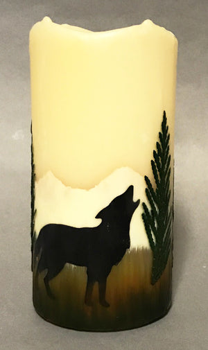 Howling Wolf Flameless Candle with Timer