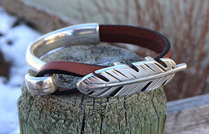 Western Feather Leather Bracelet