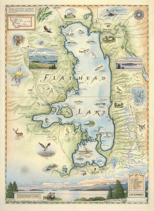 Hand-Drawn Map of Flathead Lake