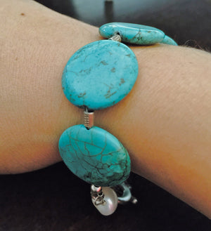 Turquoise & Pearl Bracelet - Distinctly Montana - 1