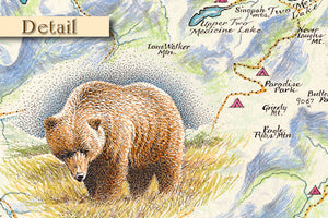 Glacier Park Hand Drawn Map Detail 2