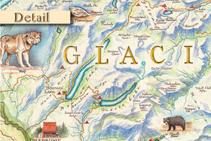 Glacier National Park Hand Drawn Map Detail 1