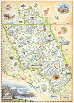 Hand-Drawn Map of Glacier National Park