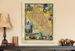 Glacier National Park Vintage Map Wall Decor