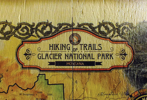 Glacier National Park Vintage Map Wall Decor [metal or wood]