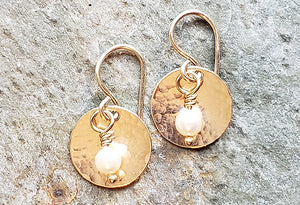 Gold Disc Earrings/Crystal or Pearl Accent  SOLD OUT